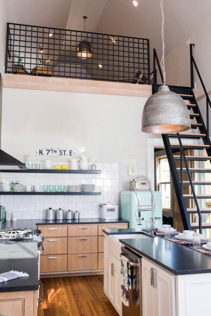 Top Knobs Modern Metro Tab Pulls in Installed Kitchen Shot